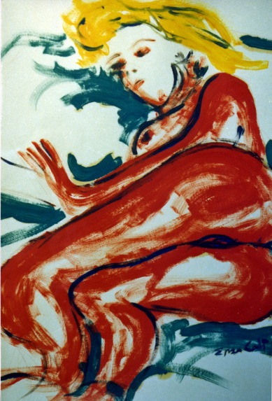 Red Woman - 1989 - Oil on paper - 70X100