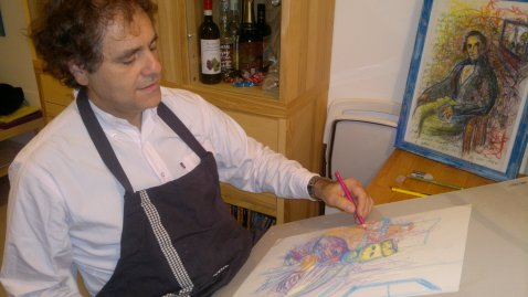 The Artist at Work for the Exib