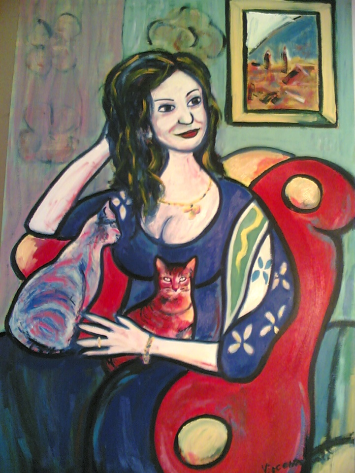 Woman with cats - 2008 - Oil on canvas - 70X100