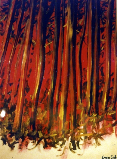 Red Forest - 1991 - Oil on paper - 70X100