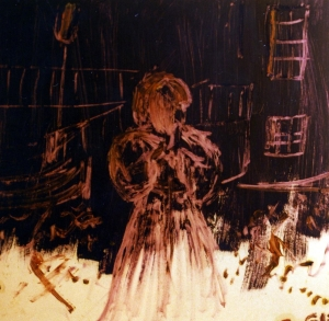 Woman on Violet - 1991 - Oil on cardboard - 40X40