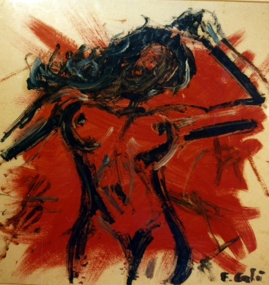 Red Woman 3 - 1991 - Oil on cardboard - 40X40