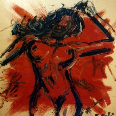 Red Woman 3 - 1991 - Oil on cardboard - 40X40