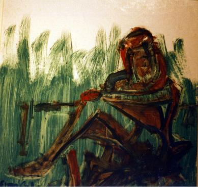 Green Woman - 1991 - Oil on cardboard - 40X40