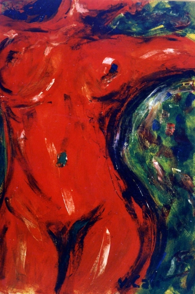 Red Woman 2 - 1990 - Oil on paper - 50X70