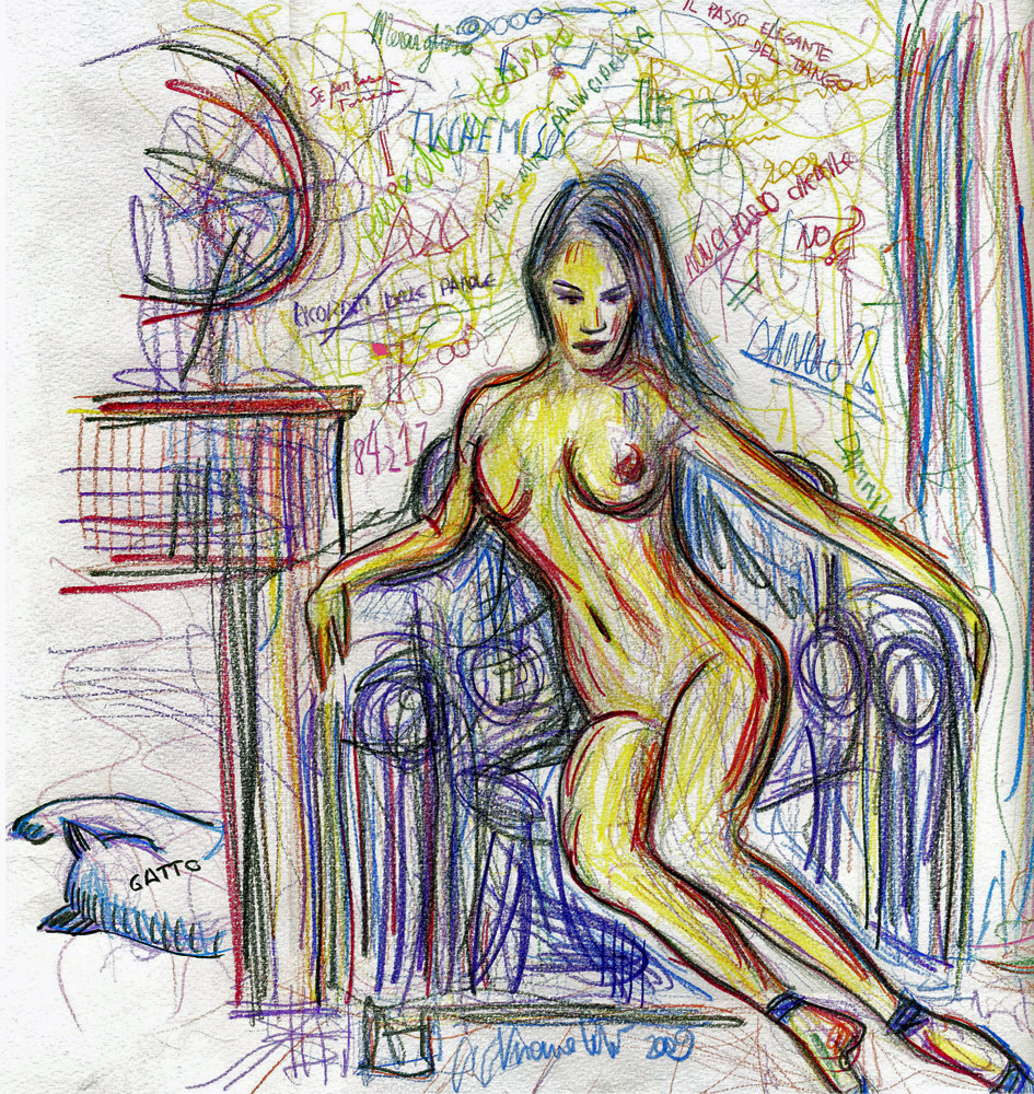 Woman with Cat - 2011 - Pastels - 30X50