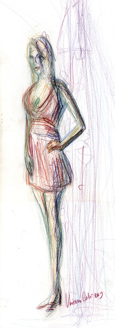 Woman in red - 2009 - Pastels - 30X50