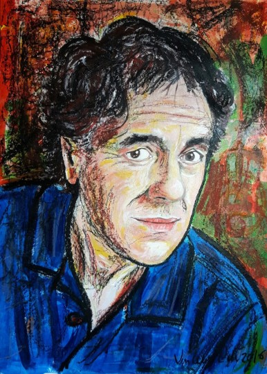 Self-Portrait listening to Jacques Brel - 2016 - Acrylic and pastels - 50x70