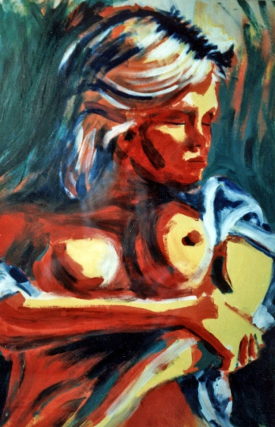 Red Woman 3 - 1989 - Oil on cardboard - 70X100