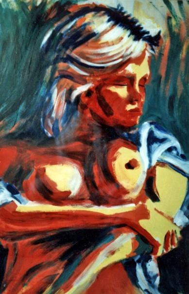 Red Woman 3 - 1989 - Oil on cardboard - 70X100