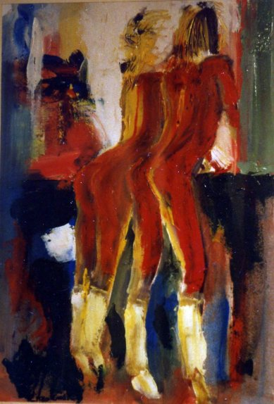 Red Women - 1988 - Oil on paper - 50X70