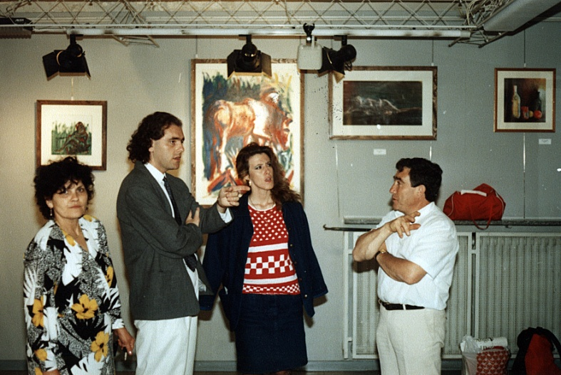Exhibit opening: me with long hair, with Manuela Cusino and my parents