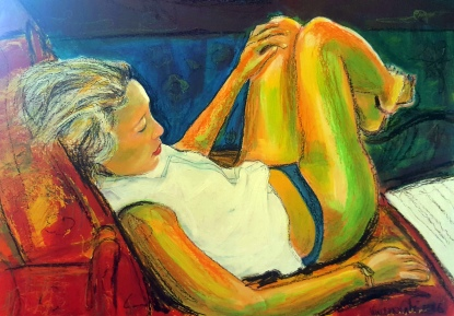 Watching Tv - 2016 - Acrylics and pastels on canvas - 70x50