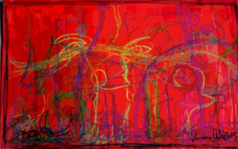 Watching a Marcello Mastroianni interview - 2015 - pastels and acrylic - 50x30
