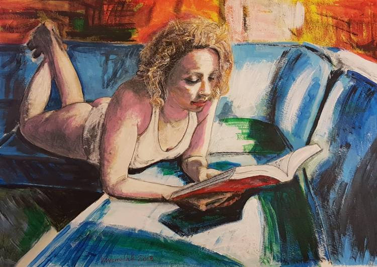 Reading - 2018 - Acrylic and Pastels on canvas - 70x50
