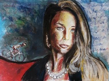 Lui sta lì e aspetta Bartali - 2018 - Pastels on Paper - 40x30