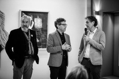 Bobo Pernettaz, Claudio e Vincenzo Calì durante l'evento dedicato alla comunicazione