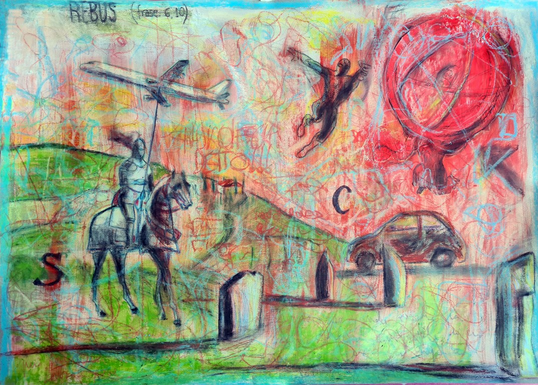 Rebus #2 - 2021 - Acrylic and Pastels on Paper - 70x50-
